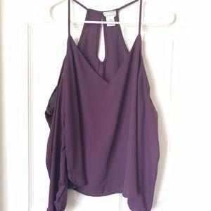 3/$15 WET SEAL Purple Cold Shoulder Top Size XS
